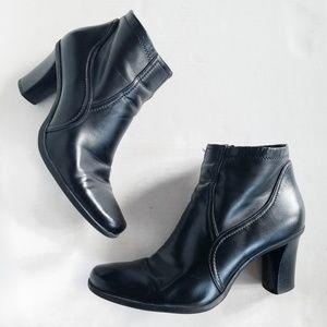 Franco Sarto Black Vegan Leather Heel Booties 8.5